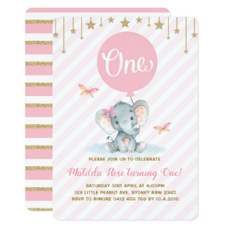 Pink Gold Elephant 1st First Birthday Twinkle Star Card