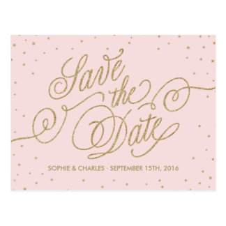 Pink & Gold Fancy Stars Save the Date Postcard