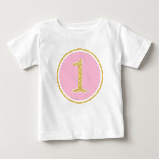 Pink Gold Faux Glitter Circle 1st Birthday Baby T-Shirt