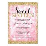 Pink Gold Faux Glitter Lights Sweet 16 Birthday 13 Cm X 18 Cm Invitation Card