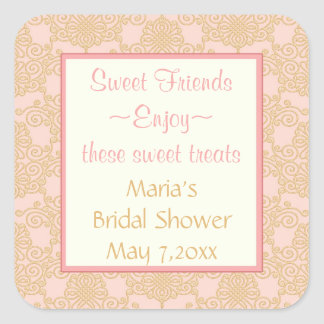 Pink Gold filigree  Candy Buffet Stickers