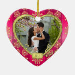Pink Gold First Christmas Together Photo Xmas Ceramic Heart Decoration
