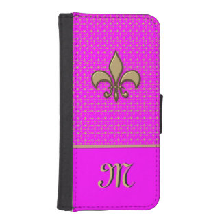 Pink Gold Fleur de Lis Phone Wallets