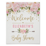 Pink & Gold Floral Baby Shower Welcome Sign Decor