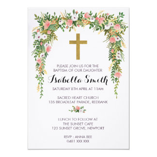 Pink Gold floral Baptism / Christening Invitation