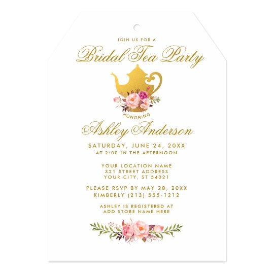 Pink Gold Floral Bridal Shower Tea Party Invite T
