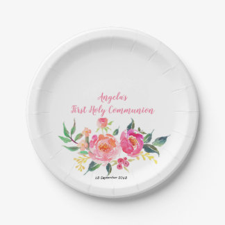 Pink Gold Floral Chic Party Paper Plates