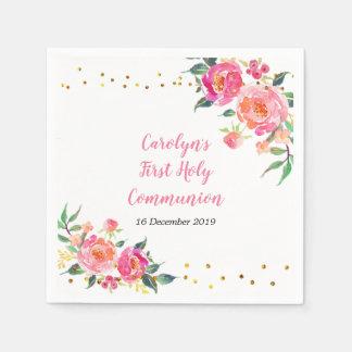 Pink Gold Floral Cocktail Paper Napkins