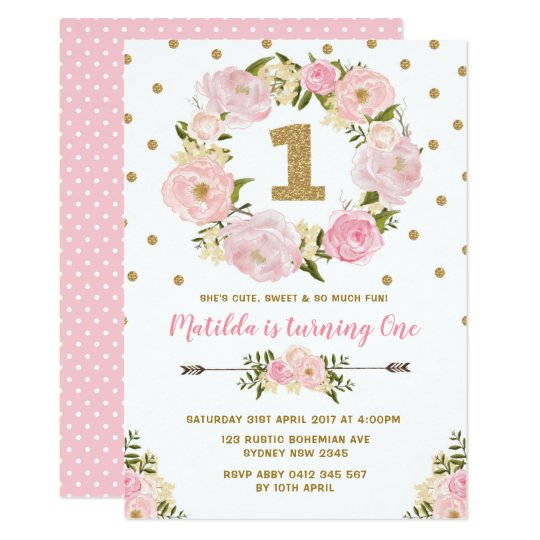 Pink gold floral first 1st birthday party invite zazzle pink gold floral first 1st birthday party invite filmwisefo