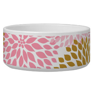 Pink gold floral pet dish for your princess dog bowls
