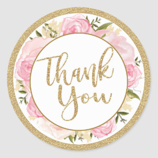 Pink & Gold Flower Wedding Thank You Round Sticker