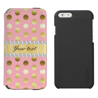 Pink Gold Foil Polka Dots Diamonds Incipio Watson™ iPhone 6 Wallet Case
