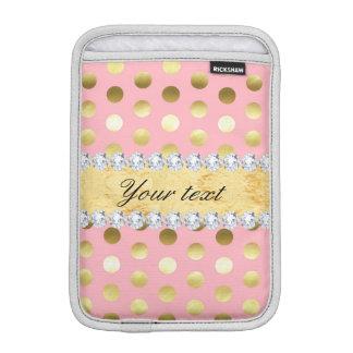 Pink Gold Foil Polka Dots Diamonds iPad Mini Sleeve