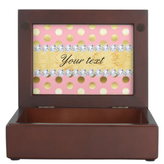 Pink Gold Foil Polka Dots Diamonds Keepsake Box