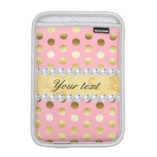 Pink Gold Foil Polka Dots Diamonds Sleeve For iPad Mini