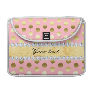 Pink Gold Foil Polka Dots Diamonds Sleeve For MacBooks