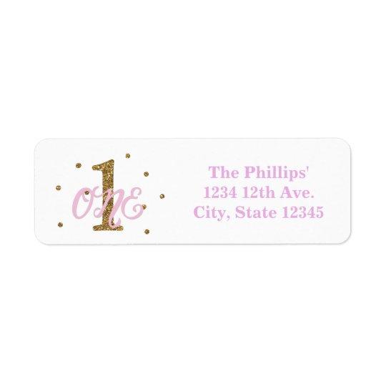 Pink & Gold Girl ONE 1st Birthday Party Invitation Return Address Label