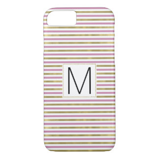 Pink Gold Glam Stripes Monogram iPhone 8/7 Case