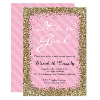 Pink & Gold Glitter  Baby Girl Shower Invitation