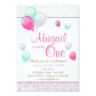 Pink Gold Glitter Balloons Birthday Invitation