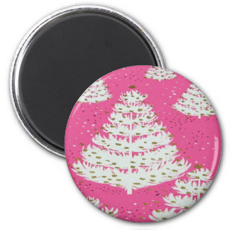 Pink Gold Glitter Christmas Holiday Tree 6 Cm Round Magnet
