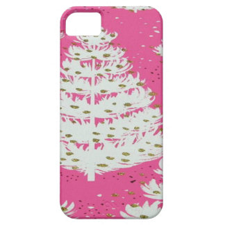 Pink Gold Glitter Christmas Holiday Tree Barely There iPhone 5 Case
