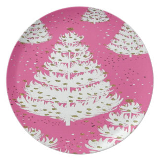 Pink Gold Glitter Christmas Holiday Tree Dinner Plate