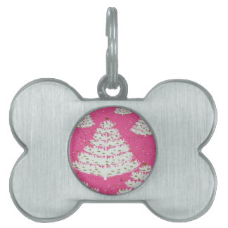 Pink Gold Glitter Christmas Holiday Tree Pet Tag