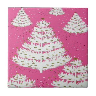 Pink Gold Glitter Christmas Holiday Tree Small Square Tile