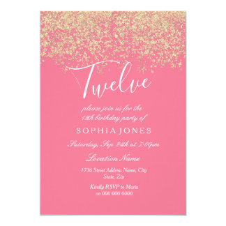Pink Gold Glitter Confetti 12th birthday party Card
