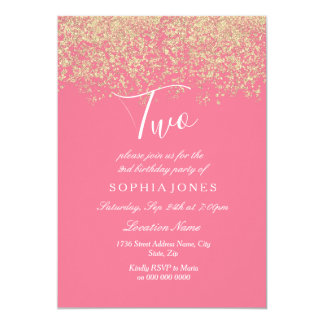 Pink Gold Glitter Confetti 2nd birthday party Card