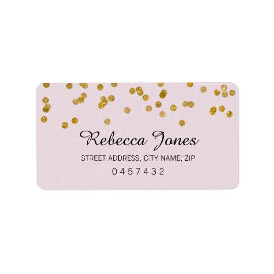 Pink Gold Glitter confetti Address Labels