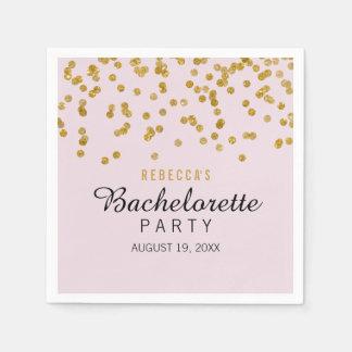 Pink Gold Glitter confetti Bachelorette Napkins Paper Serviettes
