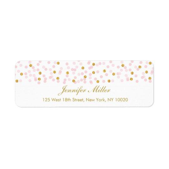 Pink & Gold Glitter Confetti Return Address Labels