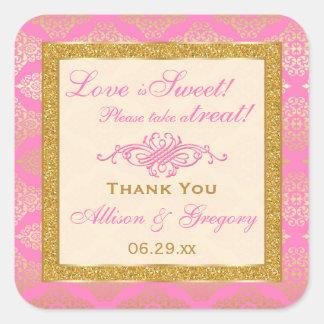 Pink Gold Glitter, Damask Candy Buffet Sticker