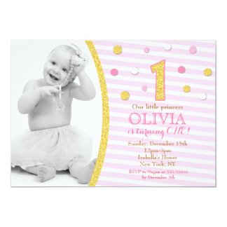 Pink Gold Glitter First 1st Birthday Invitations