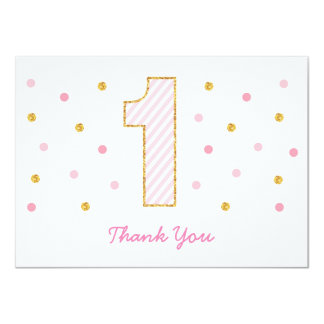 Pink & Gold Glitter First Birthday Thank You Cards 11 Cm X 16 Cm Invitation Card