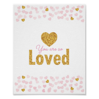 Pink & Gold Glitter Hearts Nursery Wall Print