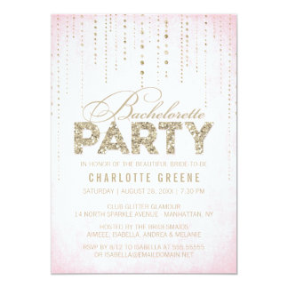 Pink & Gold Glitter Look Bachelorette Party 13 Cm X 18 Cm Invitation Card