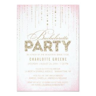 Pink & Gold Glitter Look Bachelorette Party 13 Cm X 18 Cm Invitation Card