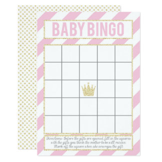Pink Gold Glitter Princess Baby Bingo Card