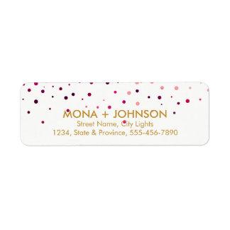 Pink Gold Glitter Sparkle Confetti Dots Modern Return Address Label