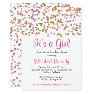 Pink & Gold Glitter Sprinkle Baby Shower Invite