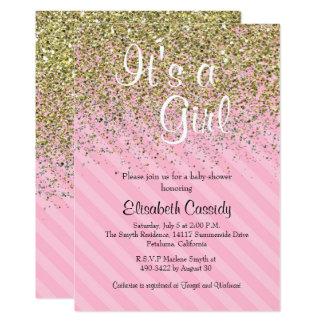 Pink & Gold Glitter Sprinkle Baby Shower Invite