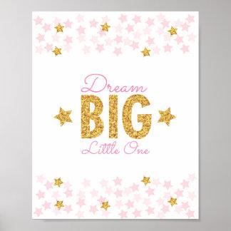 Pink & Gold Glitter Star Dream Big Nursery Print