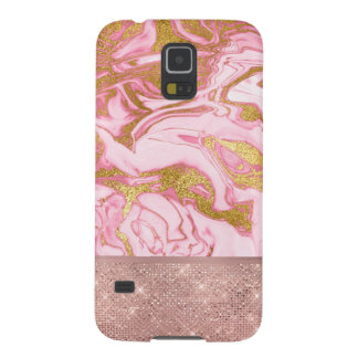 Pink Gold Gold Glitter and Sparkle Marble Case For Galaxy S5