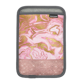 Pink Gold Gold Glitter and Sparkle Marble iPad Mini Sleeve