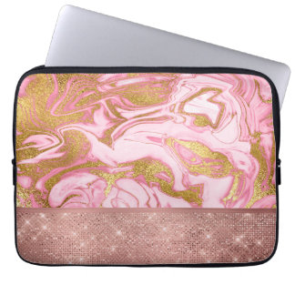 Pink Gold Gold Glitter and Sparkle Marble Laptop Sleeve