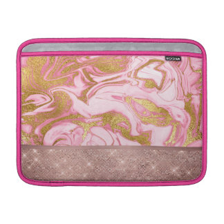 Pink Gold Gold Glitter and Sparkle Marble MacBook Sleeve