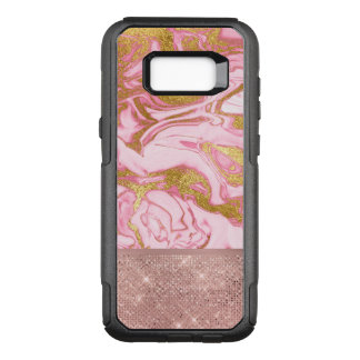 Pink Gold Gold Glitter and Sparkle Marble OtterBox Commuter Samsung Galaxy S8+ Case
